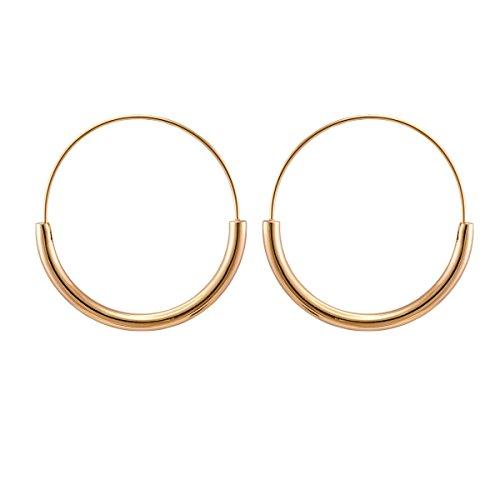 Endless Stainless Steel Snap Hoop Earrings Real Gold Plated Hanging Dangling Thin Minimalist Earrings for Women (Rose - Designer Earrings Geometric