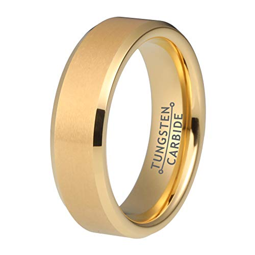 Wow Jewelers 6mm 18K Gold Tungsten Rings for Men Women Wedding Bands Matte Brushed Finish Beveled Edges Comfort Fit