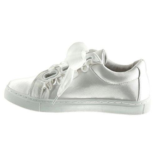 Angkorly - damen Schuhe Sneaker - sneaker Sohle - Schnürsenkel aus Satin flache Ferse 2.5 CM Weiß