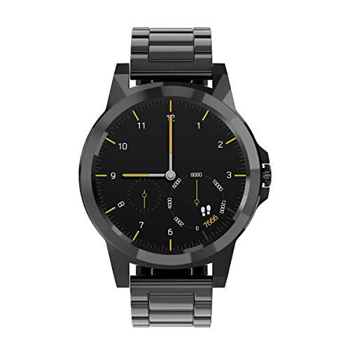 Diggro Bluetooth Smart Watch DI02 DI03 MTK2052C Heart Rate Monitor Pedometer Sleep Monitor Microphone Speaker Siri for Android iOS (DI03 Black Steel)