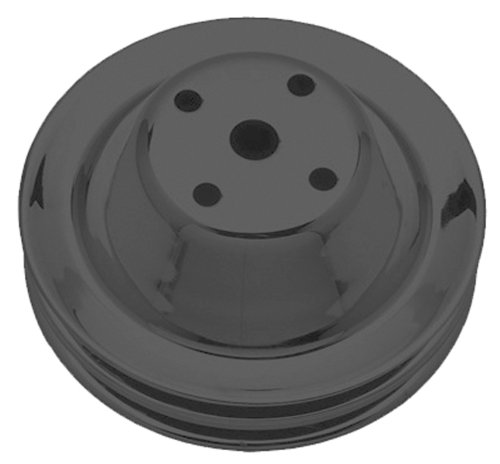 Trans-Dapt Performance 8605 Water Pump Pulley 6.3 in. Dia. 2.25 in. Depth Double Groove Long Style Black Satin Powder Coated Water Pump Pulley ()