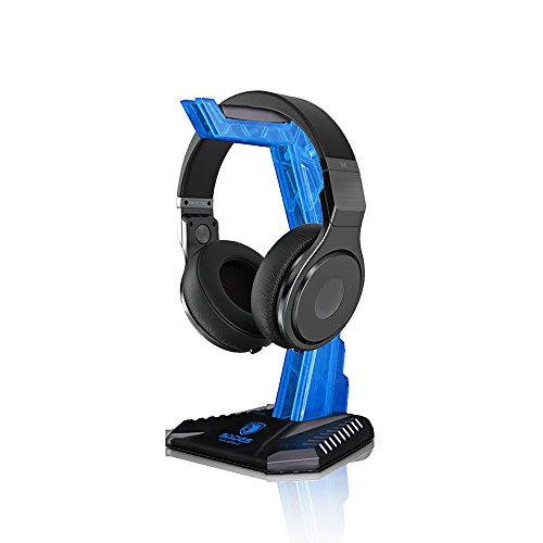 Gaming Headphone Cradle, Headset Bracket Stand Holder, Suitable for Gaming Headset, Head-mounted Display Rack Headset Hanger Holder for Gamers (Blue) (Cradle Headset)