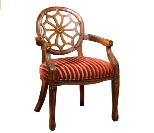 Furniture of America Gwendolyn Victorian Style Padded Fabric and Hand-Carved Frame Arm Chair, Antique Oak Finish ()