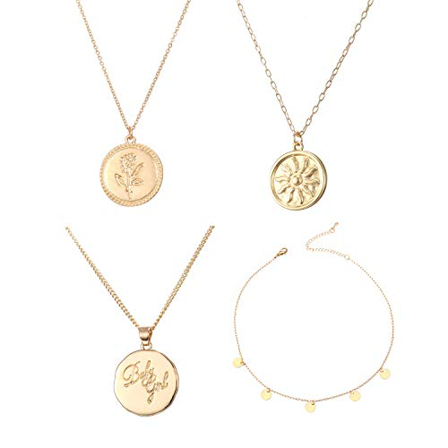 Carved Necklace Small Rose - Feximzl 4 Pack 14K Gold Plated Rose Flower Sun Coin Necklace for Women Dainty Handmade Fill Carved Pendant Chain Minimalist Jewelry Valentine's Day Jewelry Gift