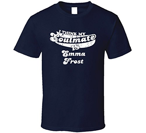 My Soulmate is Emma Frost Funny Halloween Costume Worn Look T Shirt XL Navy ()