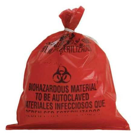 Biohazard Bags, 2 gal., Red, PK1000 by GRAINGER APPROVED