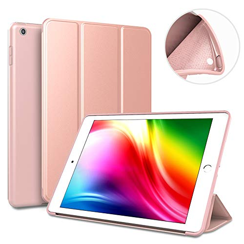 9.7 iPad case for 2017/2018,Ultra Slim Lightweight Smart Case Soft Silicone Cover Stand with Auto Sleep/Wake for iPad 9.7 inch iPad 5th/6th Generation(A1822/A1823/A1893/A1954)-rose gold