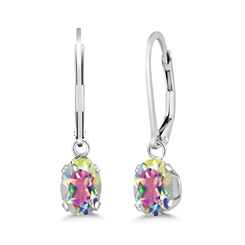 Mercury Topaz Set (1.90 Ct Oval Mercury Mist Mystic Topaz 925 Sterling Silver Earrings)