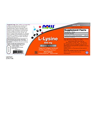 Now Foods L-Lysine 500 mg - 250 Tabs 12 Pack