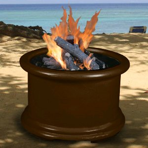 Fire Clear Glass Brown Pit - Island Series - Chocolate Brown - Fire Pit - Clear Glass - LP Gas