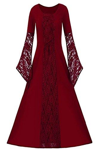 Women's Medieval Dress Halloween Cosplay Costume Lace Up Vintage Floor Length Retro Long Dress (XL, (Halloween Costumes Vintage)