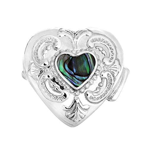 AeraVida Mystical Heart Abalone Shell Inlay .925 Sterling Silver Pill Box Keepsake ()