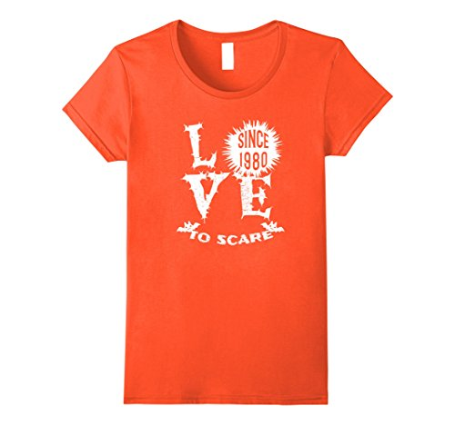 Womens Love To Scare Since 1980 Halloween T-Shirt Funny Large Orange (Plus Size 1980's Halloween Costumes)