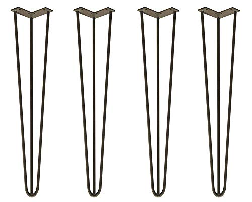 Set of 4 Black Steel Metal Hairpin Legs - Dining Table Height (29'' x 4'') - Industrial Heavy Duty by Osborne Wood Products