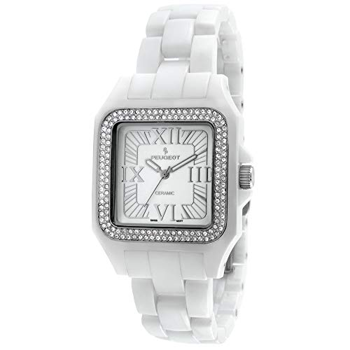 Peugeot Women's PS4897WT Swiss Ceramic Swarovski Crystal White Dial Watch