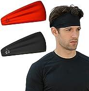 Headbands for Men and Women - Mens Sweatband & Sports Headband Moisture Wicking Workout Sweatbands for Run