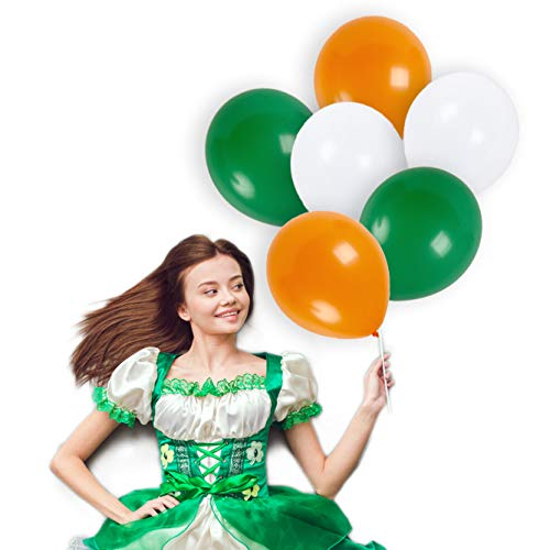 Irish St Patricks Day Balloons Decorations 12 Inch Shamrock Emerald Green White Orange Thick Latex Balloon Bulk Pack of 72 and 65 Yards Curling Ribbons Party Supplies St Patty Birthday Decorations -
