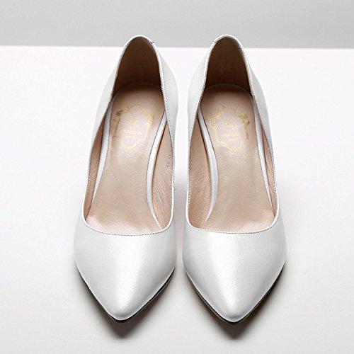 AJUNR Moda/elegante/Transpirable/Sandalias Zapatos de mujer Sharp cabeza Rough talon Poca boca White 8cm tacones altos Treinta y ocho 38