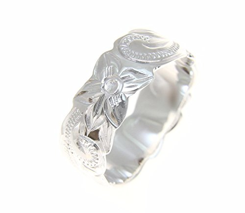 Ring Flowers Hawaiian (Arthur's Jewelry Sterling Silver 925 Hawaiian 8mm Ring Plumeria Flower Scroll Scallop Cut Out Size 7.5)