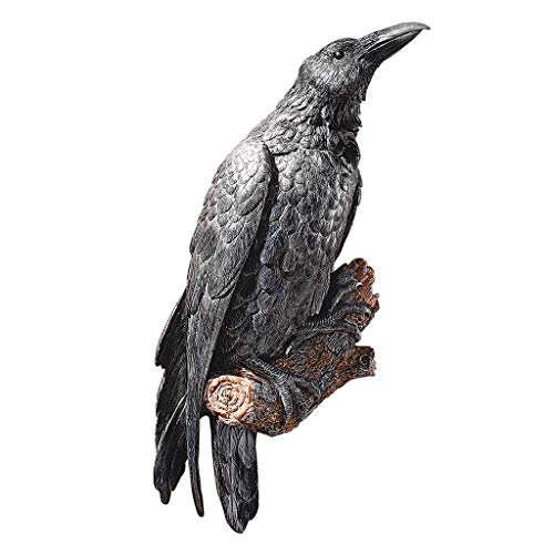 Design Toscano The Raven's Perch Halloween Gothic Decor Wall Sculpture, 18 Inch, Polyresin, Full -