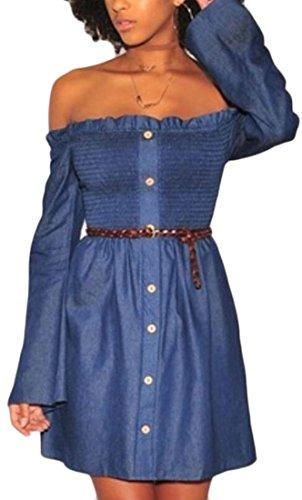 Boutons Épaule Domple Des Femmes D'été Hors Bustier Partie Denim Mini Robe 1