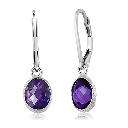 9x7 Oval Earrings (Sterling Silver Amethyst Gemstone Birthstone Leverback Dangle Earrings (4.00 cttw, 9X7MM Oval Amethyst))