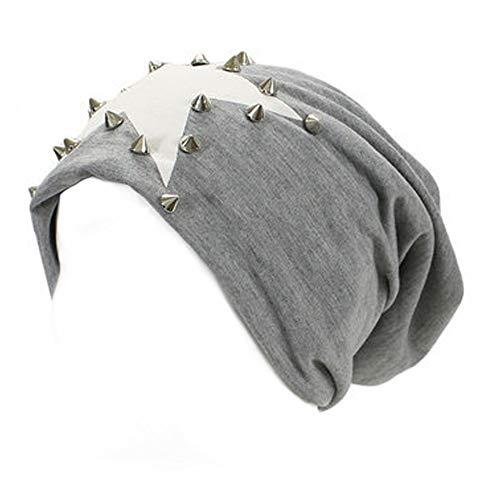 an Slouchy Bennies for Men Baggy Dreadlock Fleece Long Hat Light Gray Star Stud
