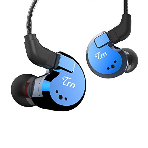 TRN V80 HiFi Earphone, Stage/Studio in Ear Monitor, 2 Dynamic & 2 Balanced Armature Driver Stereo Bass IEM, Metal in Ear Headphone with Detachable 2 Pin Cable (Blue No Mic)