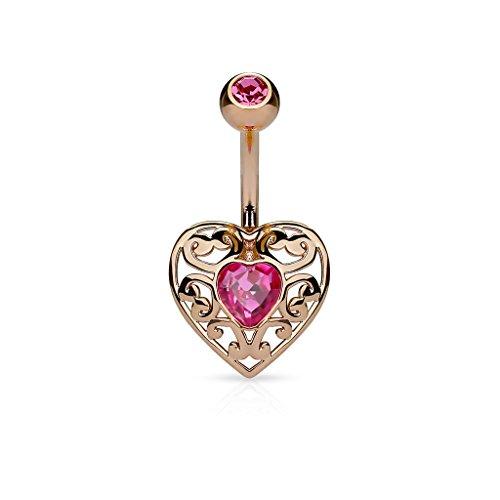 Heart Curved Pink (Amelia Fashion 14G Vintage Heart Rose Gold/Pink Navel Ring 316L Surgical Steel (Rose Gold & Pink))