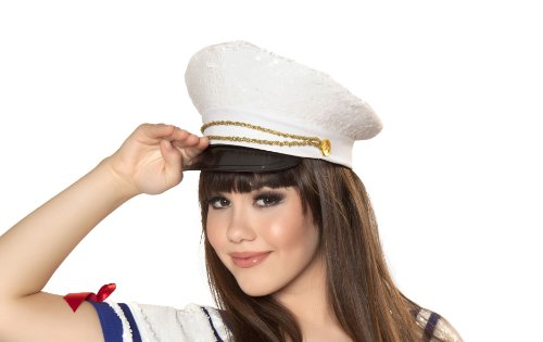 Roma Costume Sailor Hat Costume, White Sequin, One Size (Sequin Sailor Costume Hat)