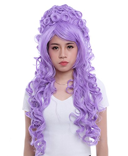 [Lemail wig Anime Wave Wig Long Curly Cosplay Costume Synthetic Wigs Lavender] (Lavender Marie Antoinette Wig)