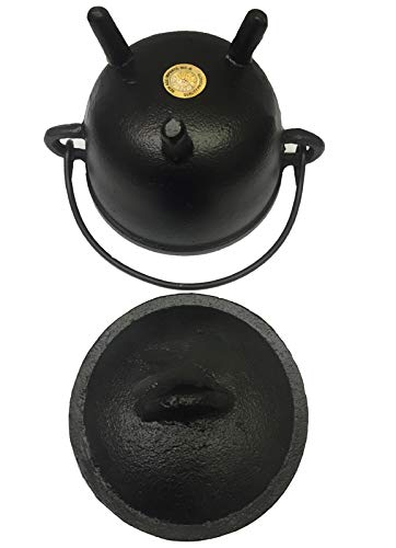 New Age Imports, Inc. Cast Iron Cauldron w/handle & lid, ideal for smudging, incense burning, ritual purpose, decoration, halloween decoration, candle holder, etc. (Pot Style 4'' Dia (BR90)) by New Age Imports, Inc. (Image #3)