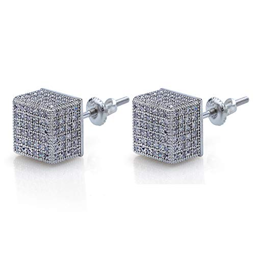 Silver Cube Earrings - Hip Hop Iced Out XL Large Square Curved Screen Block Screw Back Stud Earring For Men and Women (925 Silver White Gold Cube)