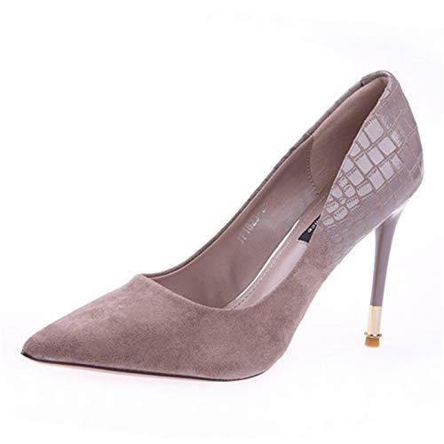 YMFIE avec Européenne Sexy Fine avec YMFIE de Simples Talons Pointus Suede Haut Talons Chaussures de Travail Dames Chaussures Simples 37 EU|B c4533c