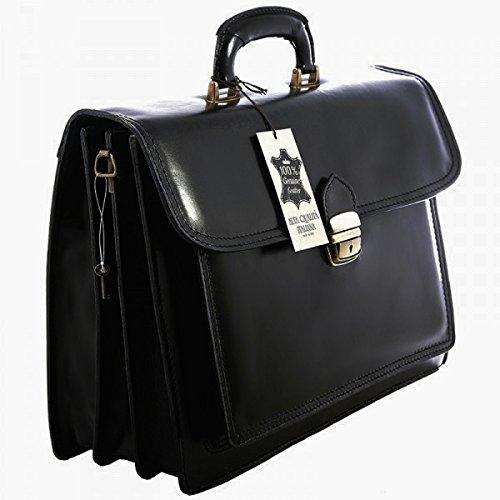 Leder-Aktentasche/Laptoptasche aus italienischer Handarbeit, ca. 40cm, Schwarz
