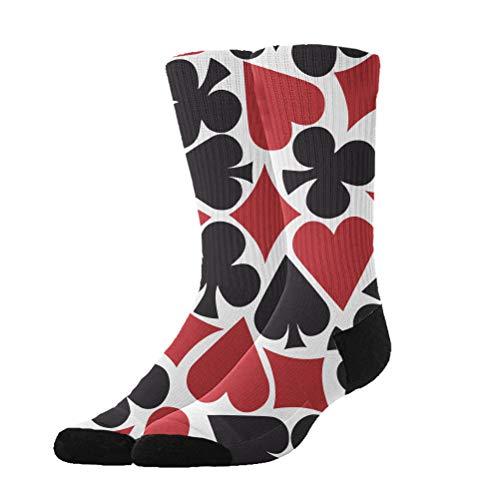 Unisex Fun Dress Socks - Colorful Funky Socks - Cotton Poker Heart Square Pattern Socks