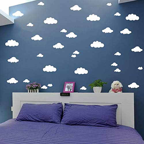 31 pcs Mix Size 4-10 inch Clouds Wall Decal Sticker For Kids Bedroom Decor -DIY Home Decor Vinyl Clouds Mural Baby Nursery Room Wallpaper YYU-14 (White) - Kids Wallpaper