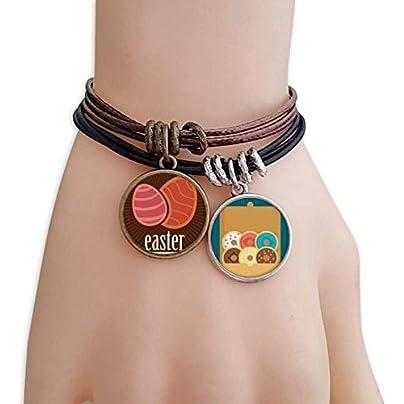 SeeParts Easter Religion Festival Red Egg Pattern Bracelet Rope Doughnut Wristband Estimated Price £9.99 -