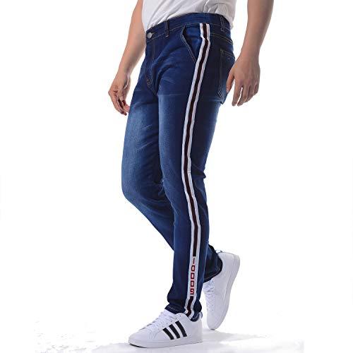 BAILUNDAISI Men's Striped Skinny Jeans, 803-db, ()