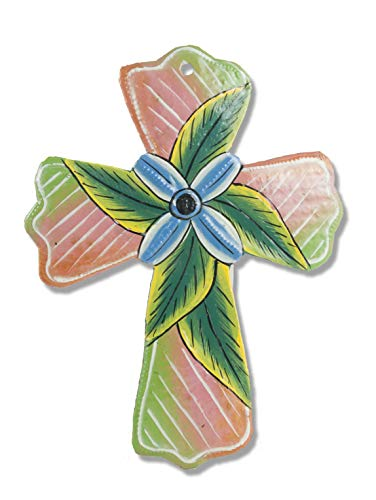 Haitian Hands 'Painted Leaf Cross Ornament' Haitian Handcrafted Metal Art Made from Recycled Steel Barrels