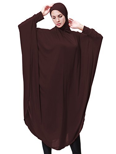 One Wing - GladThink Womens Muslim Bat's-wing-sleeves Dress Hijab Two in One COFFEE L