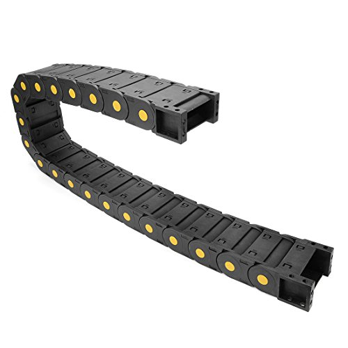 (uxcell R55 25mm x 57mm Plastic Cable Wire Carrier Drag Chain 1M for CNC Black)