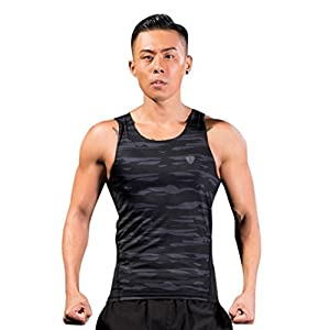 Men's Sleeveless Camo Tank Tops Cool Dry Casual Fitted Muscle T-Shirt Sport Vest (L, Gray)