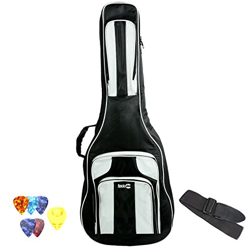 RockJam 41 inch Guitar Waterproof 3-Pocket Dual Adjustable Shoulder Strap Padded Deluxe Gig Bag with Guitar Strap and Picks ()