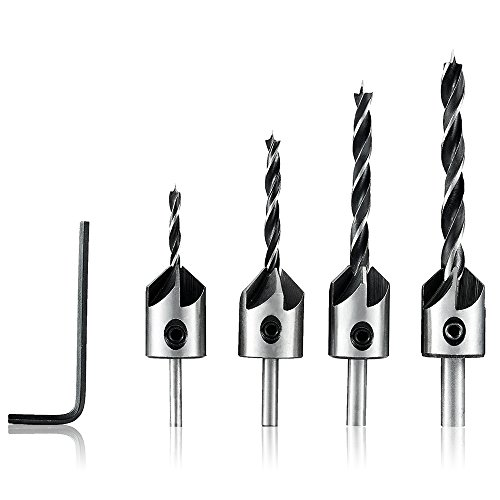4Pcs Countersink Drill Bits Set 3/4/5/6mm HSS Carpentry Reamer Woodworking Chamfer Counter Bit Set by JelBo
