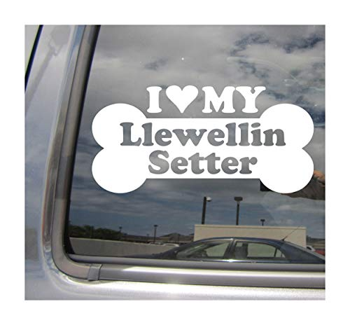 I Heart Love My Llewellin Setter - Dog Bone English Llewellyn Lawerack Laverack Purebred Breed Cars Trucks Moped Helmet Auto Automotive Craft Laptop Vinyl Decal Store Window Wall Sticker 13601