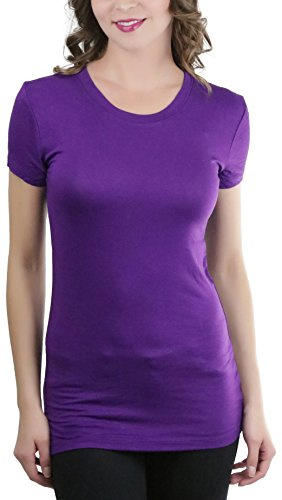 ToBeInStyle Women's Lightweight Knit S.S. Crew Neck Tee - Purple - Large (Night Plum Light)