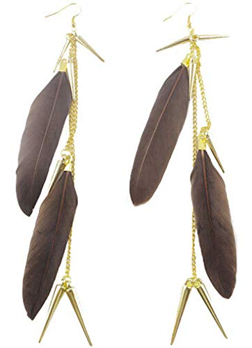 1set vogue brown Feather shiny chain elegant noble dangle chandelier earrings Good Jewerly Women Fashion Stylish Design Womens Cheap Novelty Bangle Brides (Ceramic Poppy Stand)