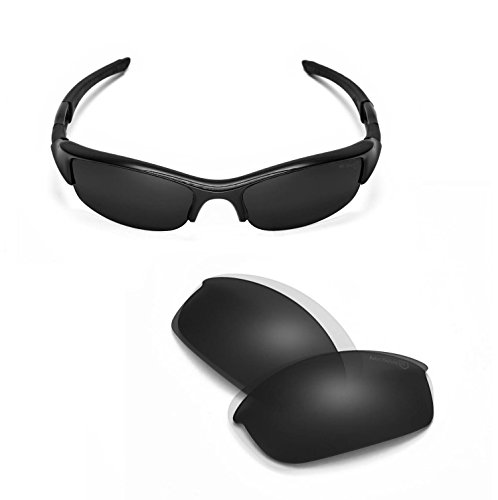 Walleva Replacement Lenses Or Lenses/Rubber Kit for Oakley Flak Jacket Sunglasses - 45 Options Available (Black - Mr. Shield - Jacket Lenses Flak Photochromic