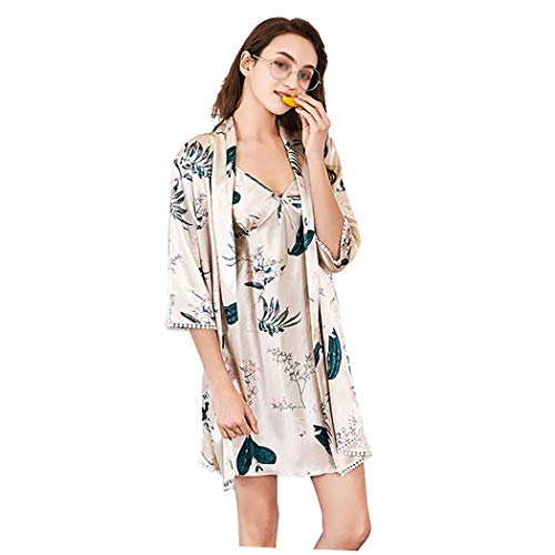 (HUIFANG Nightgown Ladies Spring Satin Slings Sleeve Pajamas Print Loose Breathable Home Wear Set (Color : Beige, Size : M))